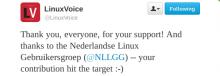 Linux Voice bedankt de NLLGG voor de bijdrage op Twitter.